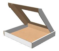"Самосборная коробка 192х182х25 мм, Т-22 ""Е""  белый (с окном 120х120 мм)"