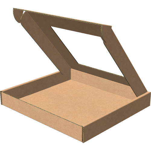 "Самосборная коробка 192х182х25 мм, Т-22 ""Е""  бурый (с окном 120х120 мм)"