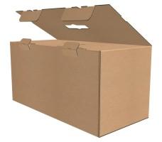 """Коробка с пластмассовой ручкой 520х250х250 мм, П-33 """"ЕВ"""" бурая"""